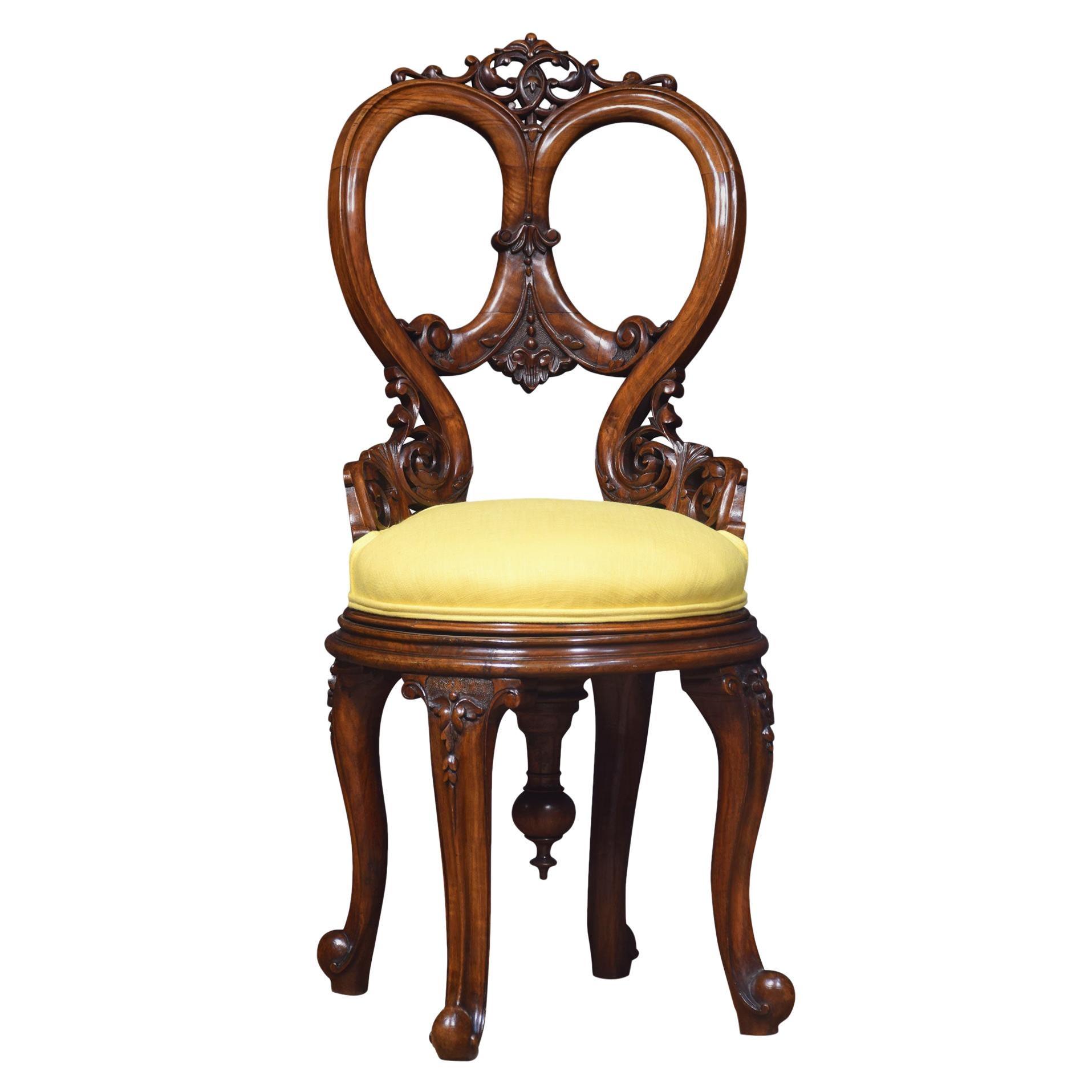 19th Century Revolving Walnut Dressing Chair