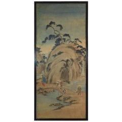 19th Century Rice Paper Painted Panel, Japan