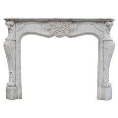 19th Century Rich Sculpted Louis XVI White Carrara Marble Fireplace Mantel