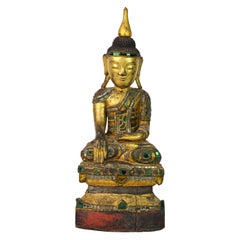 19th Century Richly Glass Inlaid Carved Burmese Shan Buddha Seated on a Throne