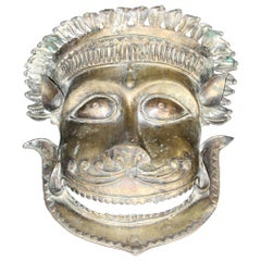 19th Century Ritualistic Bronze Facial Bhuta Mask from Temple Dancers in Kerala