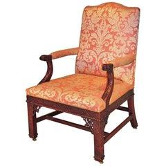 19th Century Rnglish Chippendale Mahogany Gainsborough Armchair