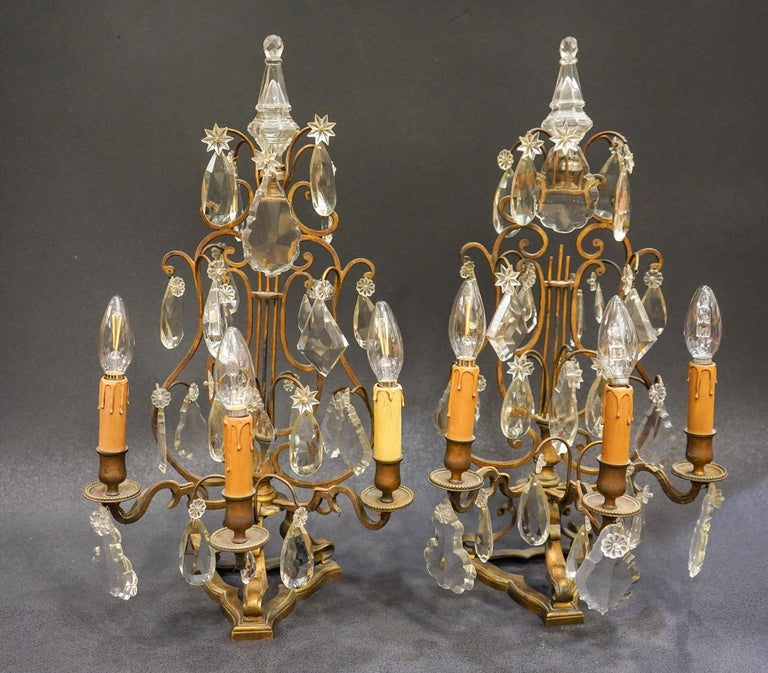 19th Century Rock Crystal and Bronze Set of French Girandoles Electrified For Sale 7