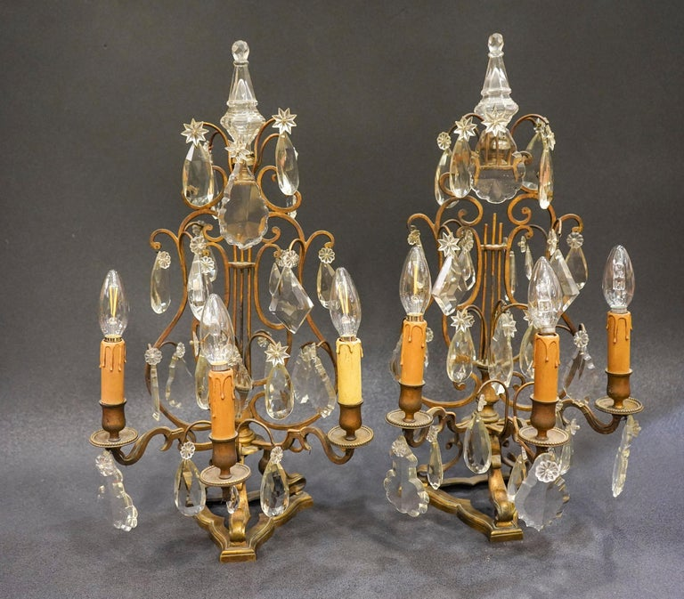 19th Century Rock Crystal and Bronze Set of French Girandoles Electrified For Sale 8