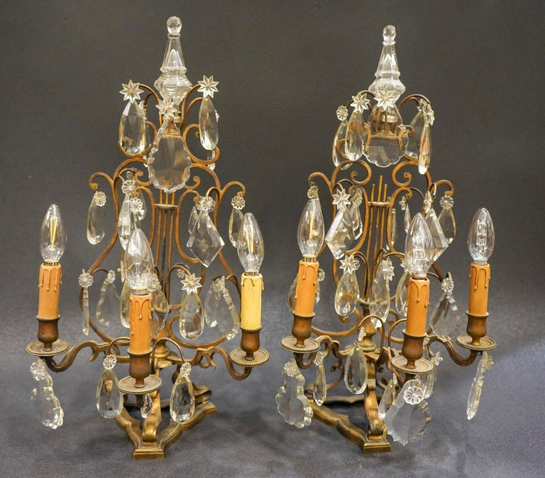 19th Century Rock Crystal and Bronze Set of French Girandoles Electrified For Sale 9