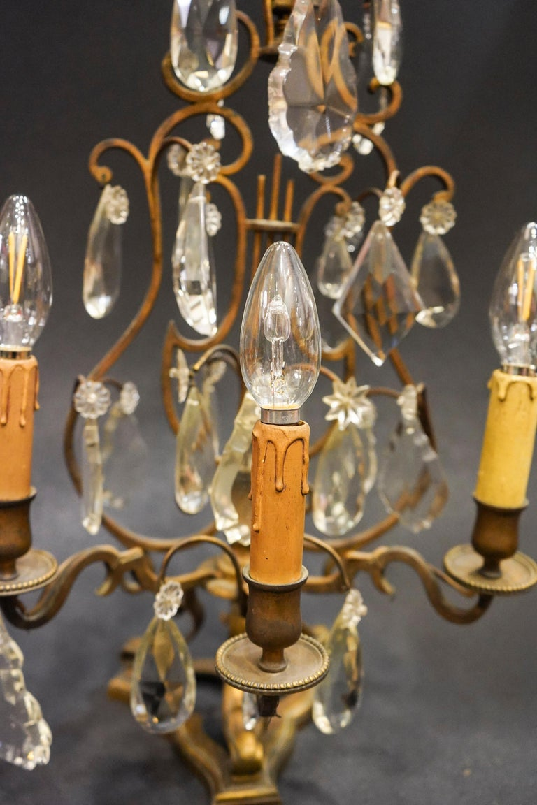 Napoleon III 19th Century Rock Crystal and Bronze Set of French Girandoles Electrified For Sale