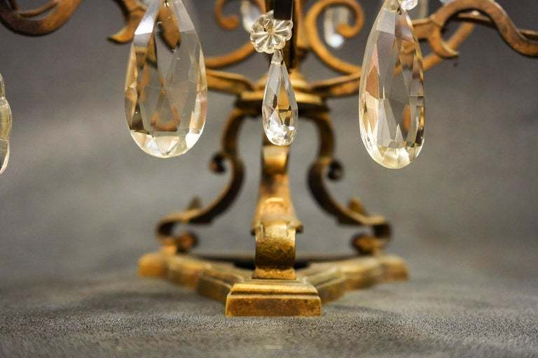 Hand-Crafted 19th Century Rock Crystal and Bronze Set of French Girandoles Electrified For Sale