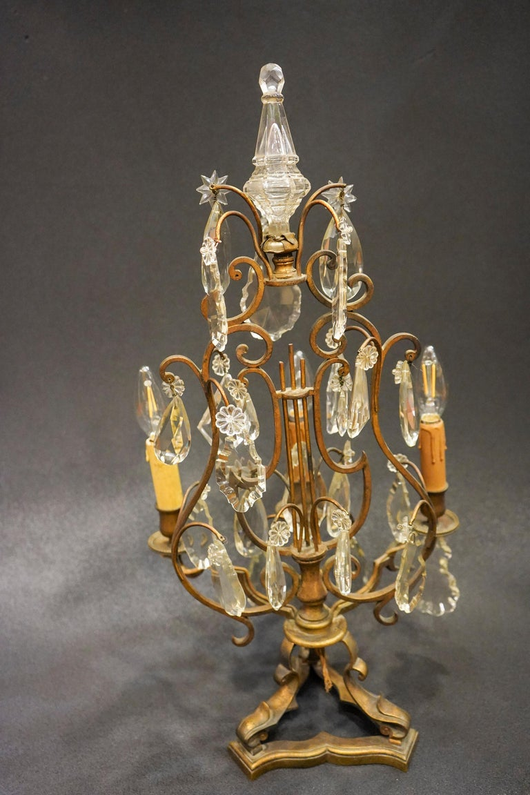 19th Century Rock Crystal and Bronze Set of French Girandoles Electrified For Sale 3