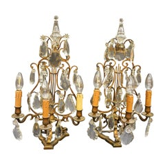 19th Century Rock Crystal and Bronze Set of French Girandoles Electrified