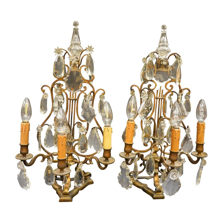 19th Century Rock Crystal and Bronze Set of French Girandoles Electrified For Sale