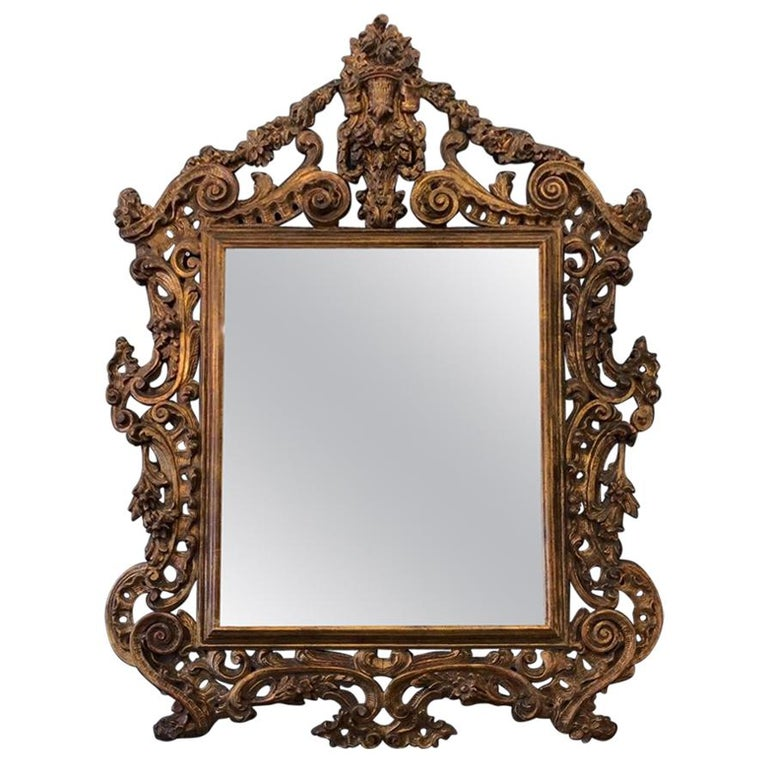 fbe84a019e9e Large 19th Century Rococo Carved Wall Mirror For Sale at 1stdibs