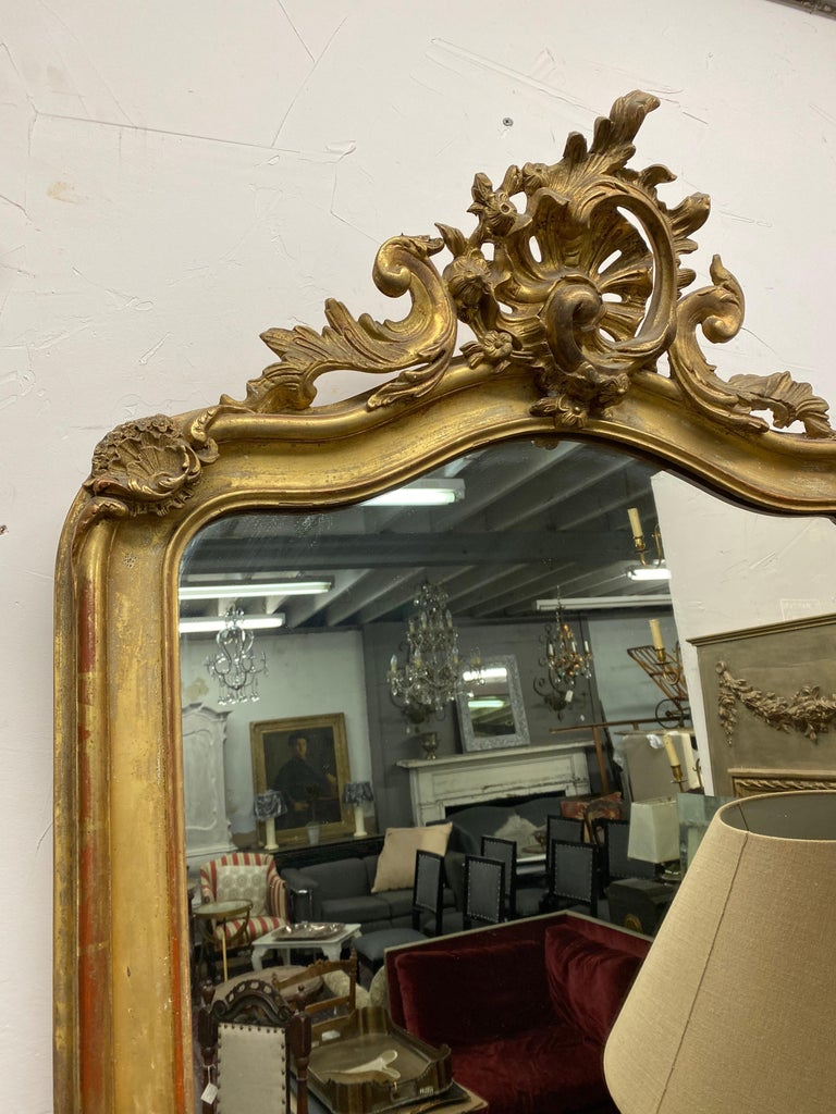French 19th Century Rococo Gilt Mantel Mirror For Sale