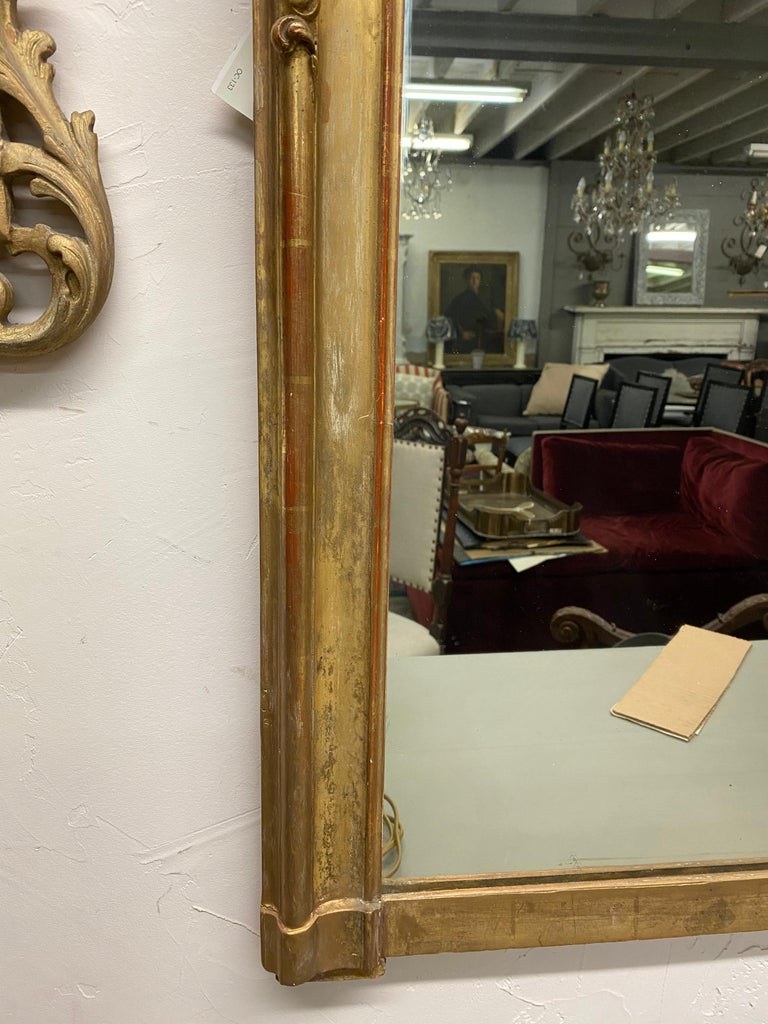 Giltwood 19th Century Rococo Gilt Mantel Mirror For Sale