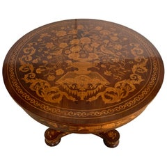 19th Century Rococo Marquetry Round Pedestal Table