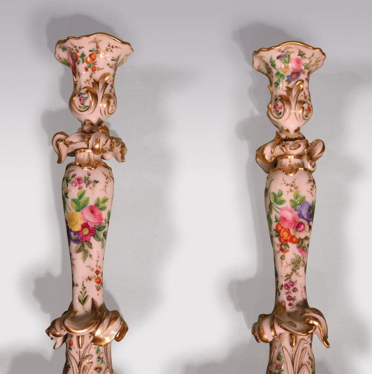 Rococo Revival 19th Century Rococo Paris Porcelain Candlesticks For Sale