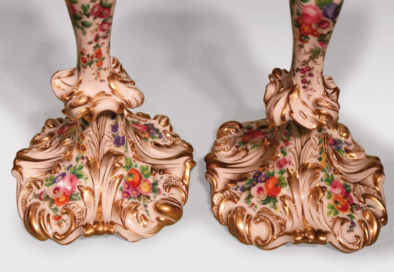 French 19th Century Rococo Paris Porcelain Candlesticks For Sale