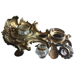 19th Century Rococo Style French Bronze Ormolu Desk Double Inkwell Encrier