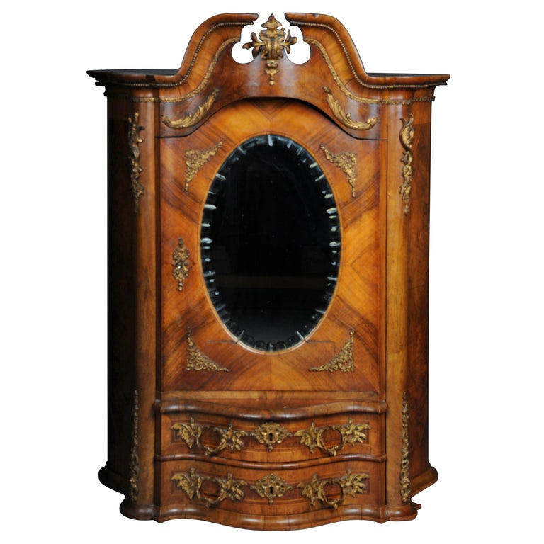 19th Century Rococo Top Cabinet Walnut Root, Germany For Sale