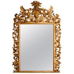19th Century Rococo Water and Parcel-Gilt Italian Mirror