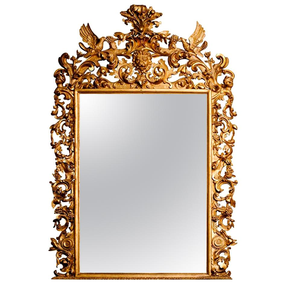 19th Century Rococo Water and Parcel-Gilt Italian Mirror