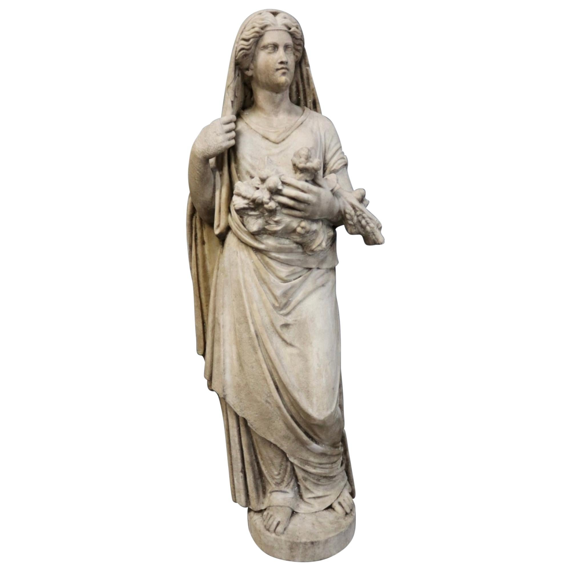 19th Century Roman Classical Style Marble Statue of Fortuna