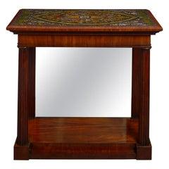 19th Century Roman Pietra Dura, Topped Mahogany Console Table