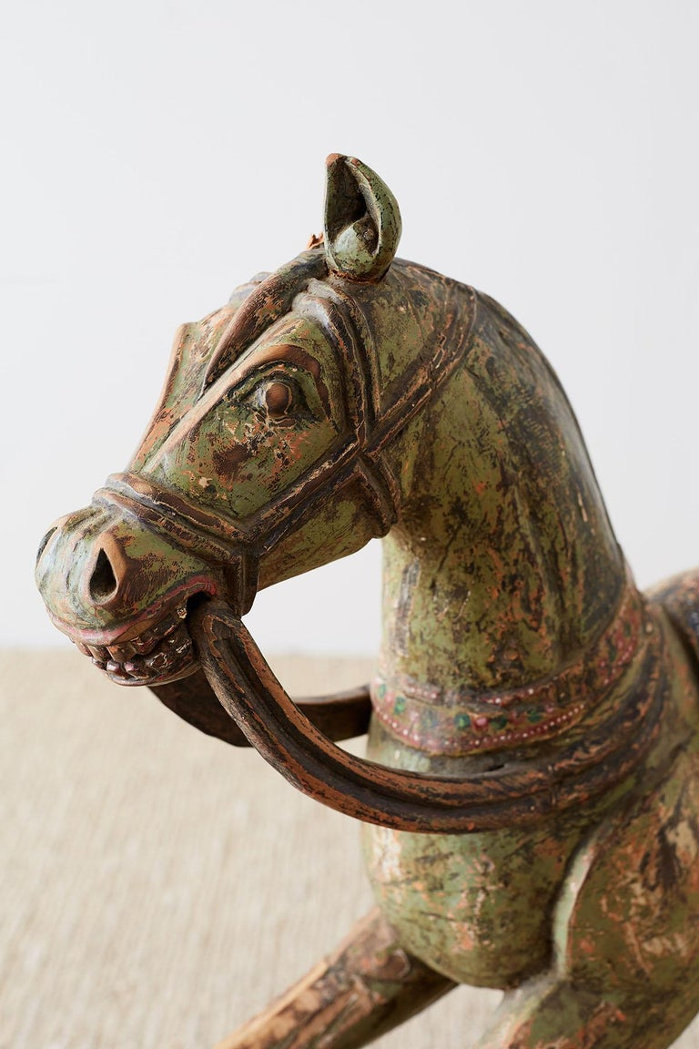 19th Century Romanian Polychrome Wooden Rocking Horse For Sale 7