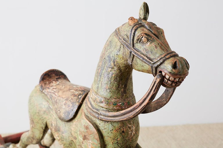 19th Century Romanian Polychrome Wooden Rocking Horse For Sale 10