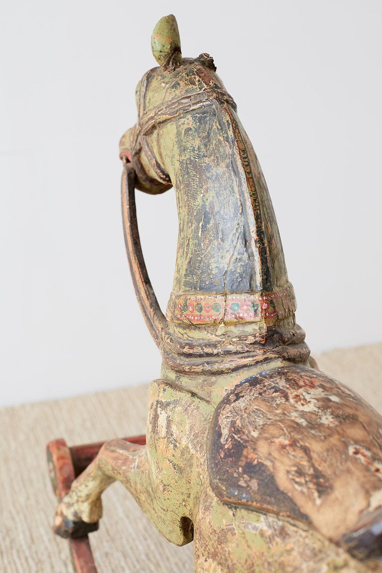 19th Century Romanian Polychrome Wooden Rocking Horse For Sale 14