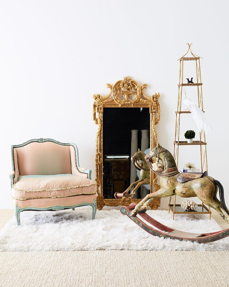 19th Century Romanian Polychrome Wooden Rocking Horse In Distressed Condition For Sale In Oakland, CA