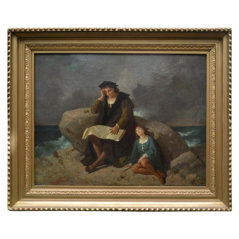 "19th Century Romantic Movement Painting ""The Explorer"" Unsigned For Sale"