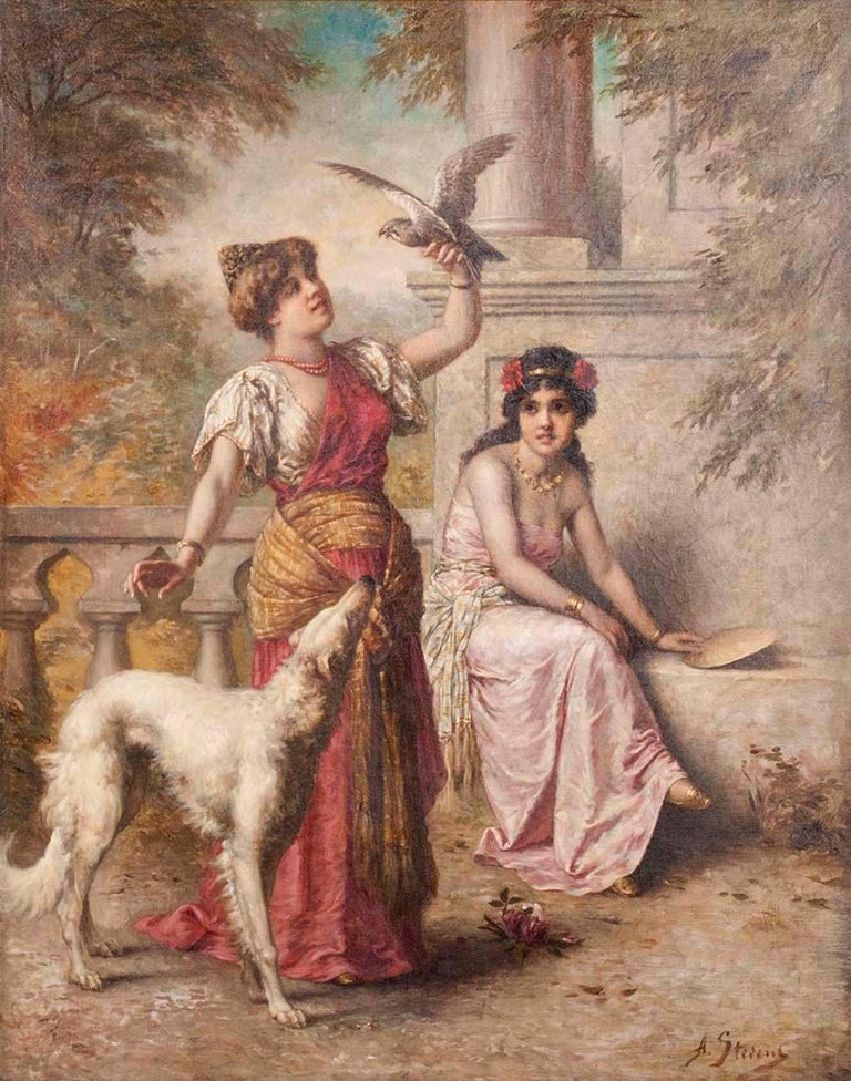 Important oil painting of Agapit Stevens. Women in an exotic exterior decor, accompanied by a Russian Borzoi dog. 