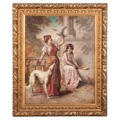 19th Century Romantic Oil Painting by Agapit Stevens