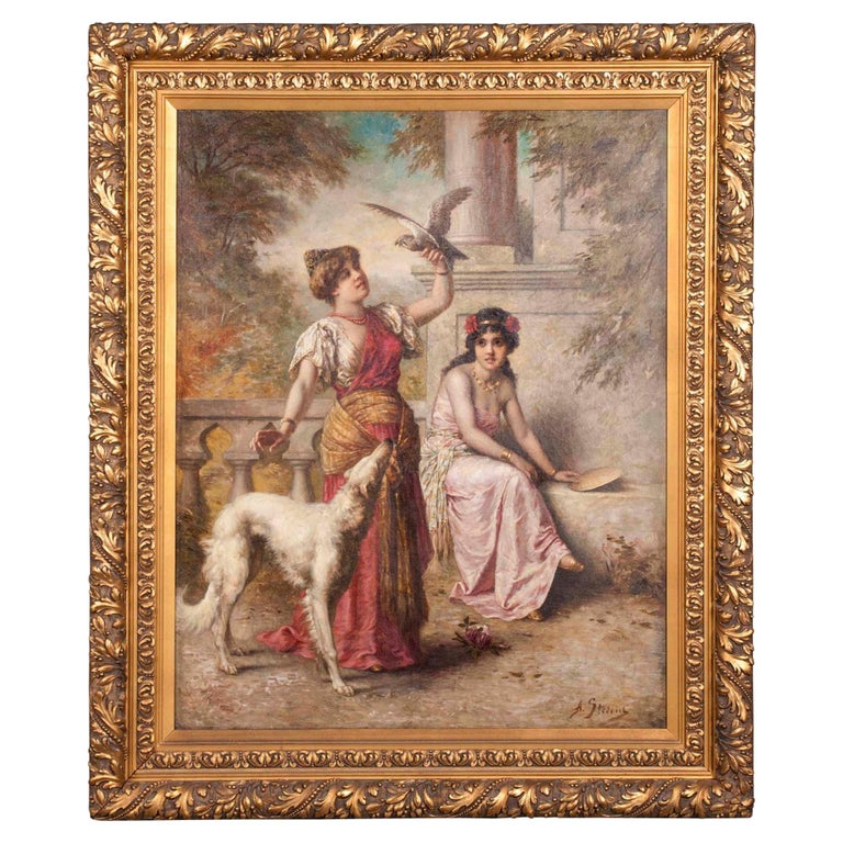 19th Century Romantic Oil Painting by Agapit Stevens For Sale