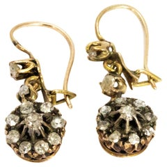 19th Century Rose Cut Diamond and Yellow Gold Cluster Drop Earrings