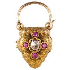 19th Century Rose Cut Diamond Ruby 18 Karat Yellow Gold Pendant
