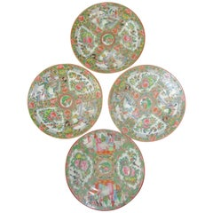 19th Century Rose Medallion Chinese Export Dessert Plate Set of Four