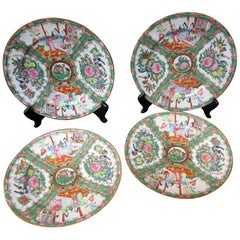 19th Century Rose Medallion Chinese Export Dinner Plate Set of Four