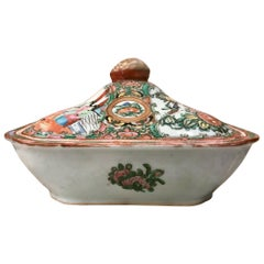 19th Century Rose Medallion Chinese Export Porcelain Covered Dish, Tureen