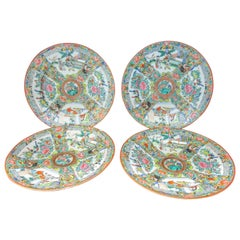 19th Century Rose Medallion Chinese Export Salad Plate Set of Four
