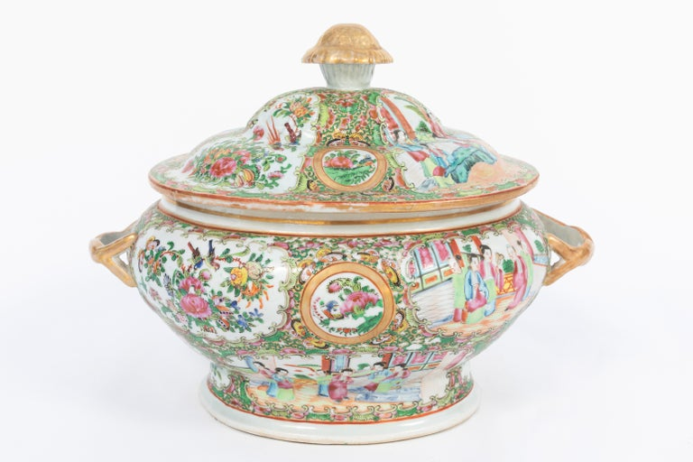 19th Century Rose Medallion Covered Tureen and Platter 4