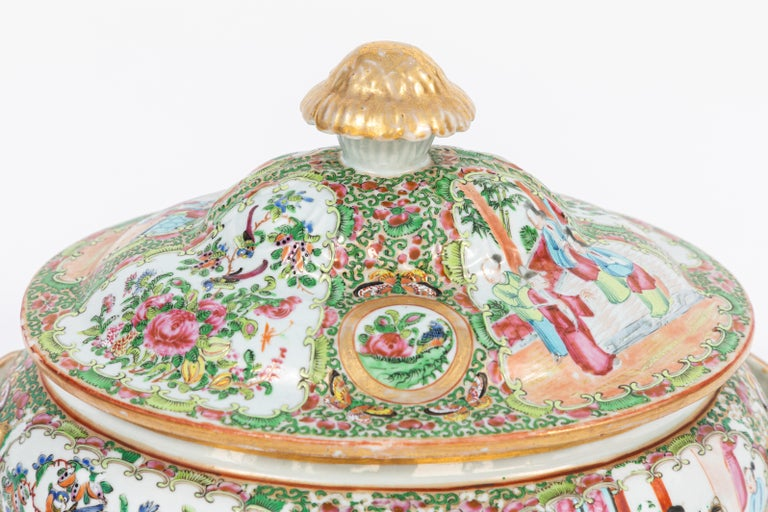 19th century rose medallion covered tureen and platter. The measurement of the platter is: 13 inches deep x 16 inches wide.