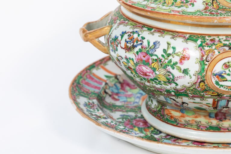 Chinese 19th Century Rose Medallion Covered Tureen and Platter