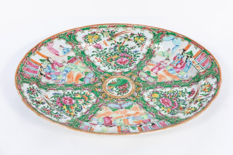Hand-Painted 19th Century Rose Medallion Covered Tureen and Platter