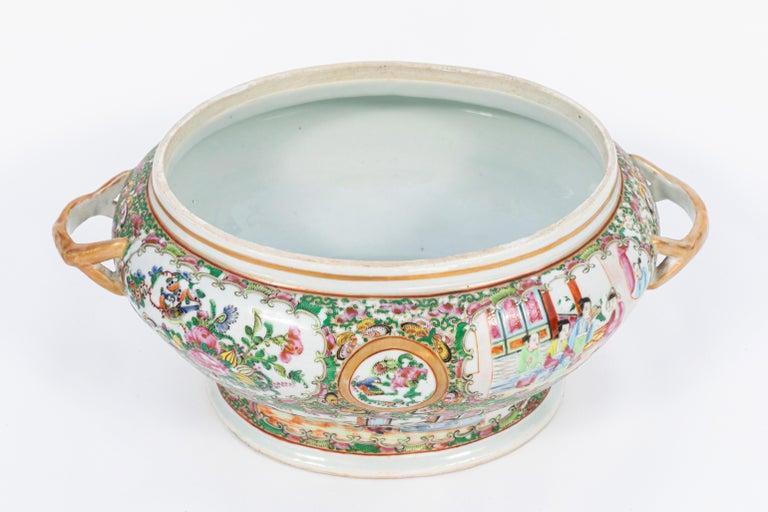 Porcelain 19th Century Rose Medallion Covered Tureen and Platter