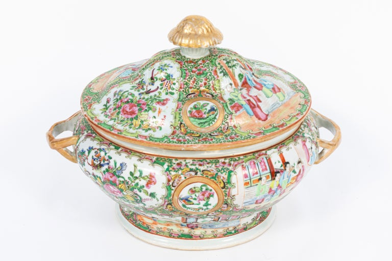 19th Century Rose Medallion Covered Tureen and Platter 1