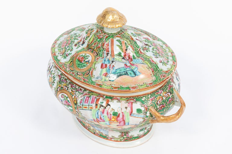19th Century Rose Medallion Covered Tureen and Platter 2