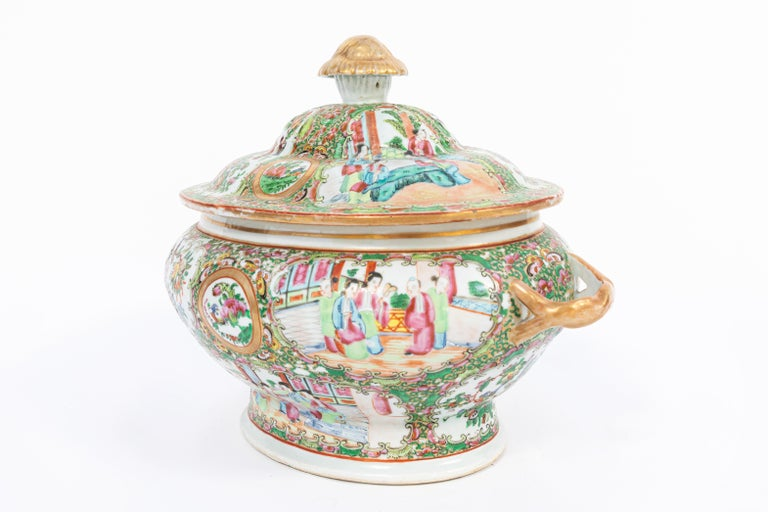 19th Century Rose Medallion Covered Tureen and Platter 3