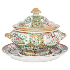 19th Century Rose Medallion Covered Tureen and Platter
