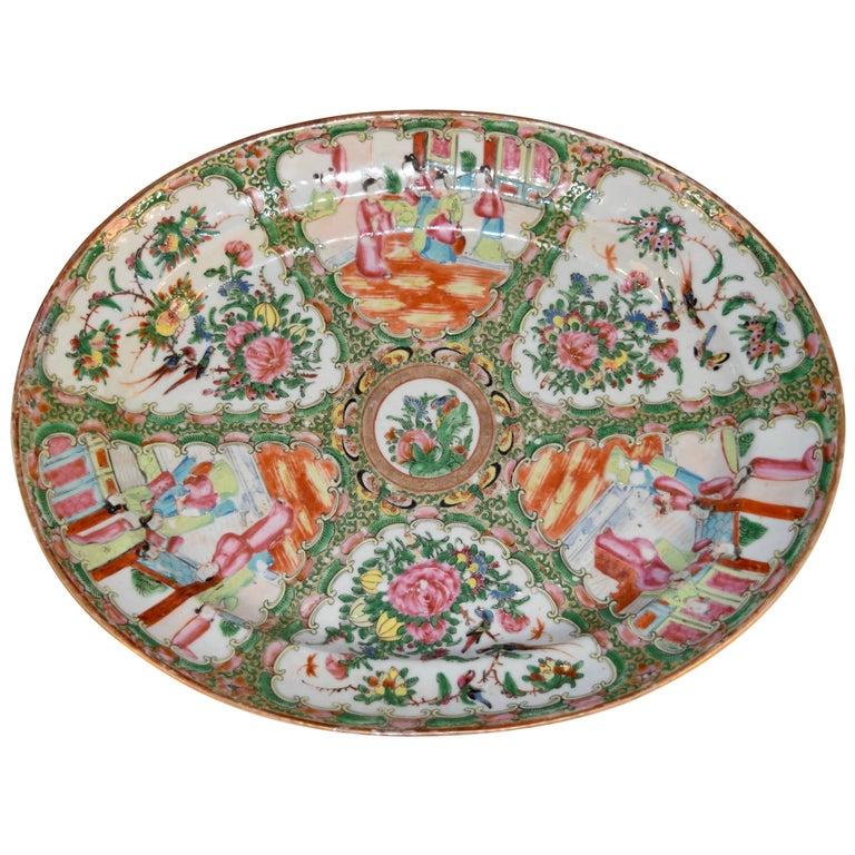 19th Century Rose Medallion Platter For Sale